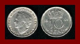 NETHERLANDS 1948 10 CENTS COIN KM#177 Europe - Queen Wilhelmina ~ AU ~ BEAUTIFUL! SCARCE!