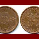 FINLAND 1966 5 PENNIA COPPER COIN KM#45 Europe
