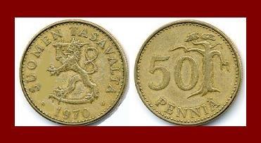 FINLAND 1970 50 PENNIA COIN KM#48 Europe - Crowned Lion ~ BEAUTIFUL!