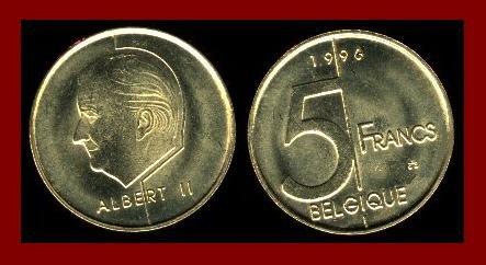 BELGIUM 1996 5 FRANCS COIN KM#189 Europe - BELGIQUE French Legend - LOW MINTAGE! ~ BEAUTIFUL!
