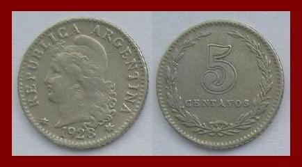 ARGENTINA 1928 5 CENTAVOS COIN KM#9 South America