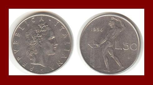 ITALY 1956 50 LIRE STEEL COIN KM#95 Europe ~ BEAUTIFUL!