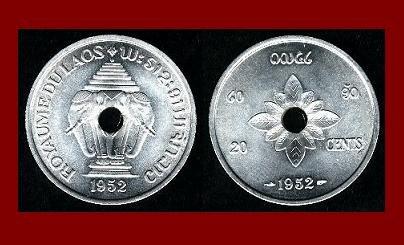 LAOS 1952 20 CENTS COIN KM#5 ASIA ~ Mythical ERAWAN White Elephant ~ BEAUTIFUL!