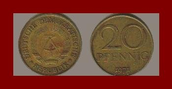 EAST GERMANY 1971 20 PFENNIG BRASS COIN KM#11 Europe - East Berlin City Seal - Communist Germany