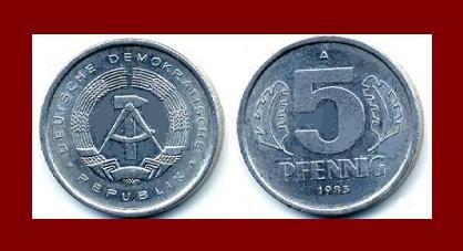 EAST GERMANY 1983(A) 5 PFENNIG KM#9.2 Europe - East Berlin City Seal - Communist Germany