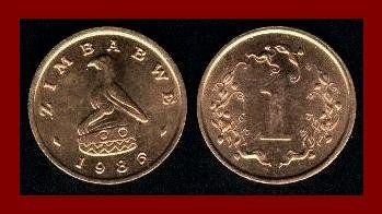ZIMBABWE 1986 1 CENT BRONZE COIN KM#1 Soapstone Bird & Flame Lily Africa