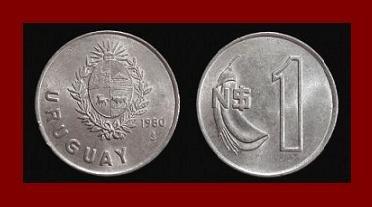 URUGUAY 1980 1 NUEVO PESO COIN KM#74 South America ~ Ceibo Flower