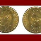 TANZANIA 1975 20 SENTI COIN KM#2 Ostrich Swahili