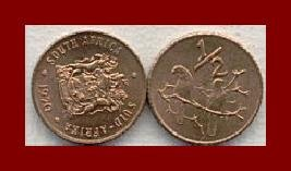 SOUTH AFRICA 1970 1/2 HALF CENT BRONZE COIN KM#81 AFRICAN SUID TRIBAL LEGEND Sparrows