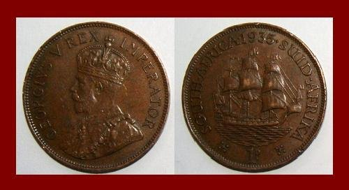SOUTH AFRICA 1935 1 PENNY BRONZE COIN KM#14.3 King George V ~ 3 Masted Galleon Sailing Ship