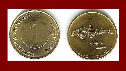 SLOVENIA 2001 1 TOLAR BRASS COIN KM#4 Europe - Danube Salmon Fish - XF - BEAUTIFUL!