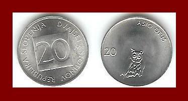 SLOVENIA 1993 20 STOTINOV COIN KM#8 Long Eared Owl - LOW MINTAGE! - XF - BEAUTIFUL!