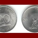 SLOVENIA 1993 20 STOTINOV COIN KM#8 Long Eared Owl - LOW MINTAGE! - XF - BEAUTIFUL!
