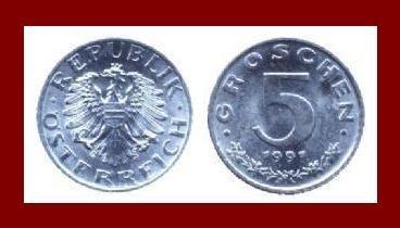 AUSTRIA 1991 5 GROSCHEN COIN KM#2875 - XF - BEAUTIFUL!