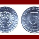 AUSTRIA 1991 5 GROSCHEN COIN KM#2875 - XF - BEAUTIFUL!