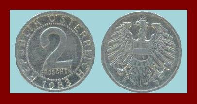 AUSTRIA 1983 2 GROSCHEN COIN KM#2876 - XF - BEAUTIFUL!