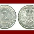 AUSTRIA 1962 2 GROSCHEN COIN KM#2876 - VF - BEAUTIFUL!