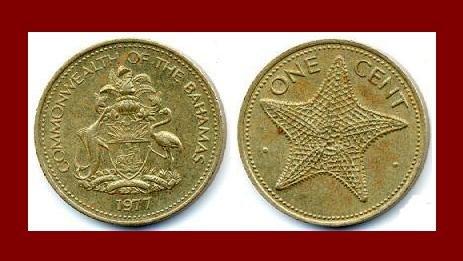BAHAMAS 1977 1 CENT BRASS COIN KM#59 Starfish Caribbean