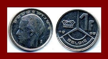 BELGIUM 1989 1 FRANK COIN KM#171 Europe - BELGIE Dutch Legend - King Baudouin I - XF - BEAUTIFUL!