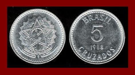 BRAZIL 1988 5 CRUZADOS COIN KM#606 South America