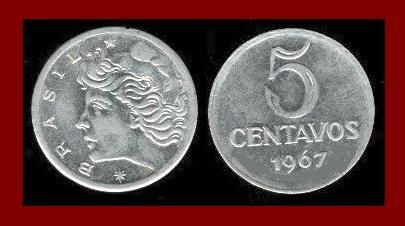 BRAZIL 1967 5 CENTAVOS COIN KM#577.1 South America
