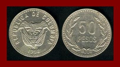 COLOMBIA 1992 50 PESOS COIN KM#283.1 South American Vulture