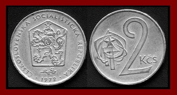 CZECHOSLOVAKIA 1972 2 KORUNY KCS COIN KM#75 Europe