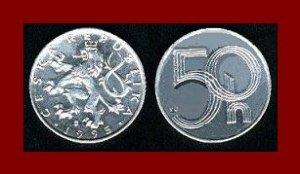 CZECH REPUBLIC 1995 50 HALERU COIN KM#3 Europe Crowned Lion
