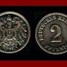 Empire GERMANY 1913(D) 2 PFENNIG COPPER COIN KM#16 Kaiser Friedrich Wilhelm II - XF - BEAUTIFUL!