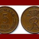 DENMARK 1966 5 ORE BRONZE COIN KM#848.1 King Frederik IX - Crowned R