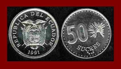 ECUADOR 1991 50 SUCRES COIN KM#93
