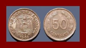 ECUADOR 1963 50 CENTAVOS COIN KM#81