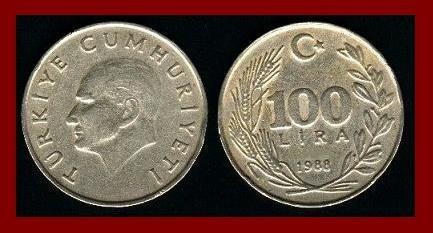 TURKEY 1988 100 LIRA COIN KM#967 Mustafa Kemal Ataturk - BEAUTIFUL!
