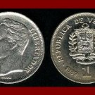 VENEZUELA 1989 1 BOLIVAR COIN Y#52a.1 South America El Libertator Simon Bolivar - BEAUTIFUL!