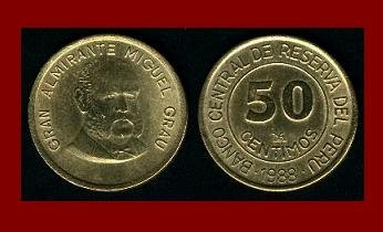 PERU 1988 50 CENTIMOS BRASS COIN KM#295 Admiral Miguel Grau Seminario
