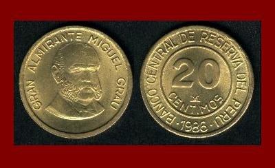 PERU 1986 20 CENTIMOS BRASS COIN KM#294 Admiral Miguel Grau Seminario
