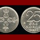NORWAY 1977 25 ORE COIN KM#417 Crossed Hammers - 4 Crowns - King Olav V - BEAUTIFUL!