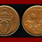 NORWAY 1965 2 ORE BRONZE COIN KM#410 Crossed Hammers - Rooster - King Olav V