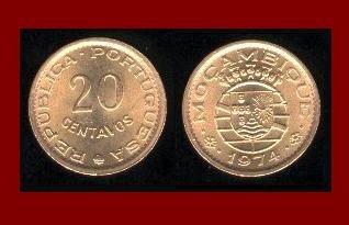 MOZAMBIQUE 1974 20 CENTAVOS BRONZE COIN KM#88 Portuguese Republic Africa ~ SCARCE! ~ BEAUTIFUL!