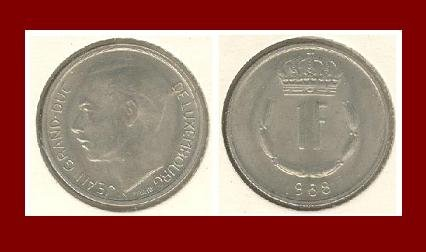 LUXEMBOURG 1968 1 FRANC COIN KM#55 Europe - Grand Duke Crown