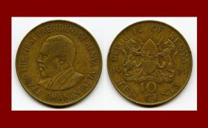 KENYA 1978 10 CENTS COIN KM#11 AFRICA President Kenyatta