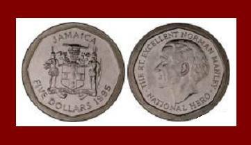 JAMAICA 1995 5 DOLLARS STEEL COIN KM#163 Caribbean - NATIONAL HERO SIR NORMAN MANLEY - BEAUTIFUL!