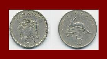 JAMAICA 1969 5 CENTS COIN KM#46 Caribbean - Alligator