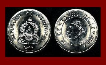 HONDURAS 1995 50 CENTAVOS COIN KM#84a.2 - Chief Lempira Central American Indian ~ BEAUTIFUL!