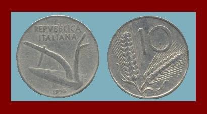 ITALY 1955 10 LIRE COIN KM#93 Europe Wheat Stalks