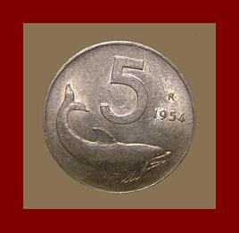 ITALY 1954 5 LIRE COIN KM#92 Europe Dolphin