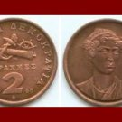 GREECE 1988 2 DRACHMES COPPER COIN KM#151 Greek National Heroine Mavrogenous ~ Anchor Cannon