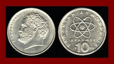 GREECE 1988 10 DRACHMES COIN KM#132 Greek Democritus Atom ~ BEAUTIFUL!