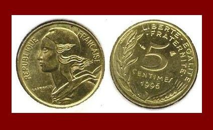 FRANCE 1996 5 CENTIMES COIN KM#933 ~ BEAUTIFUL!