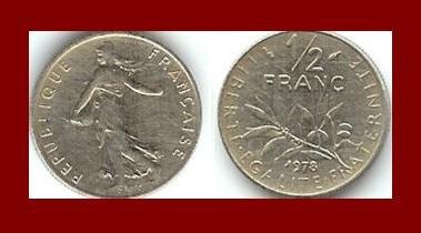 FRANCE 1978 1/2 (HALF) FRANC COIN KM#931.1 ~ BEAUTIFUL!